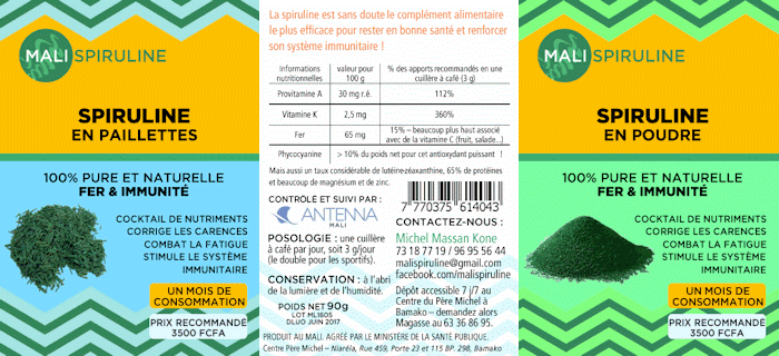 étiquette spiruline mali