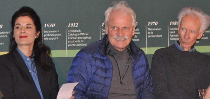 Olivia Polski, Yann Arthus Bertrand et Denis von der Weid pendant la Rencontre sur l'Agriculture Durable à la fondation Good Planet 19 oct 2019