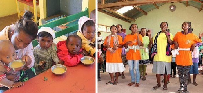 Enfants malgaches recevant des repas enrichis en spiruline et femmes suivant un cours d'éducation nutritionnelle