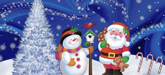 Un joyeux Père noel en dessin à côté d'un bonhomme de neige et d'un sapin de noel, sous un ciel joliment étoilé