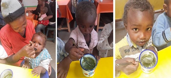 Images montrant des enfants du programme Odadi à Madagascar en train de manger une collation enrichie en spiruline
